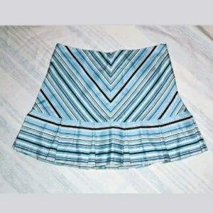 Betsey Johnson Blue Striped Pleated Mini Skirt